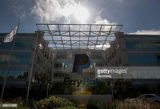 PayPal signage is displayed in front of eBay Inc headquarters in San Jose California US on Tuesday Sept 30 2014 EBay Inc is spinning off its PayPal...