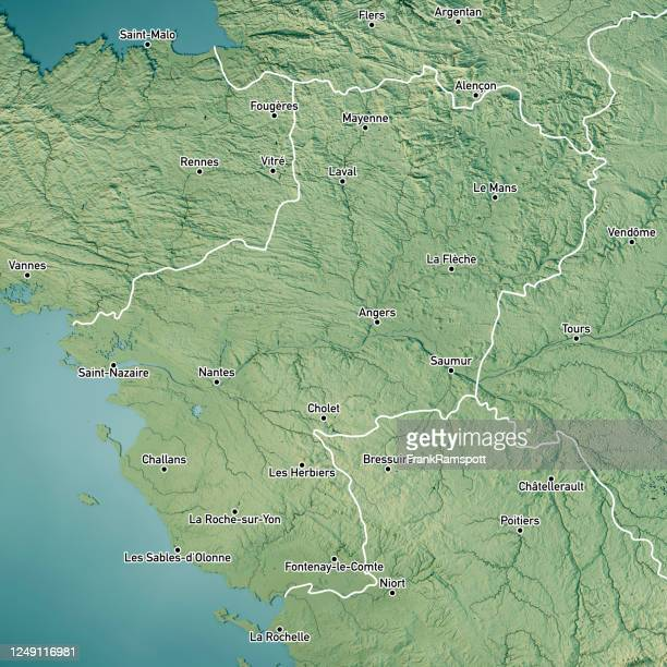 pays de la loire 3d render topographic map color border cities - frankramspott imagens e fotografias de stock