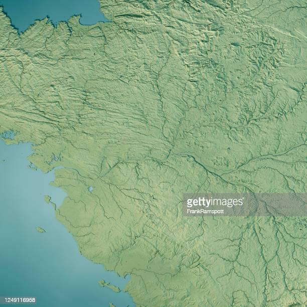 pays de la loire 3d render topographic map color - frank ramspott stock pictures, royalty-free photos & images