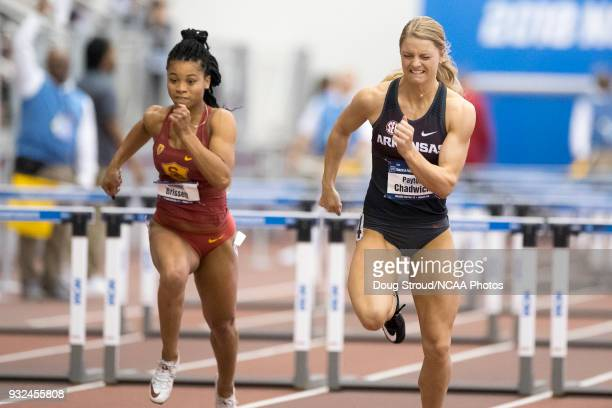 Payton Chadwick of the University of Arkansas Anna Cockrell of the University of Southern California compete in Heat 2 of the Women's 60 Meter...