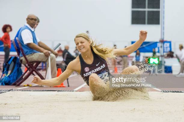 Payton Chadwick of the University of Arkansas competes in the Women's Long Jump during the Division I Men's and Women's Indoor Track Field...