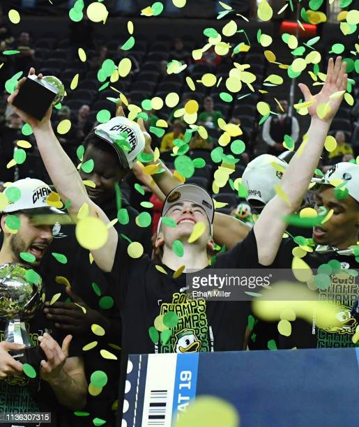 Payton Pritchard of the Oregon Ducks celebrates after the team's 68-48 victory over the Washington Huskies to win the championship game of the Pac-12...