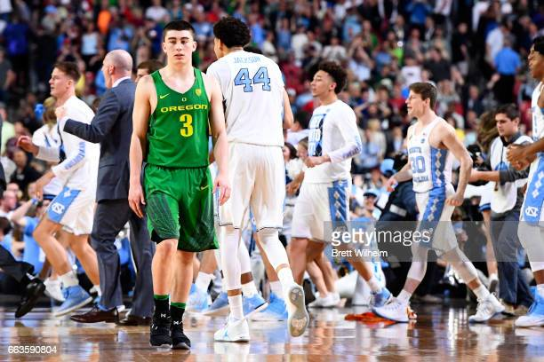 Payton Pritchard of the Oregon Ducks walks off the court following the loss to the North Carolina Tar Heels during the 2017 NCAA Photos via Getty...