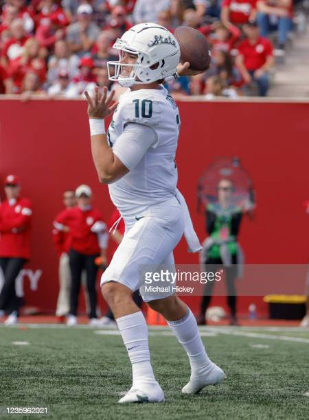Payton Thorne of the Michigan State Spartans is seen during the game against the Indiana Hoosier at Indiana University on October 16, 2021 in...