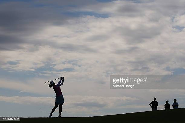 Paz Echeverria of Chile hits an approach shot on the 11th hole during day four of the LPGA Australian Open at Royal Melbourne Golf Course on February...