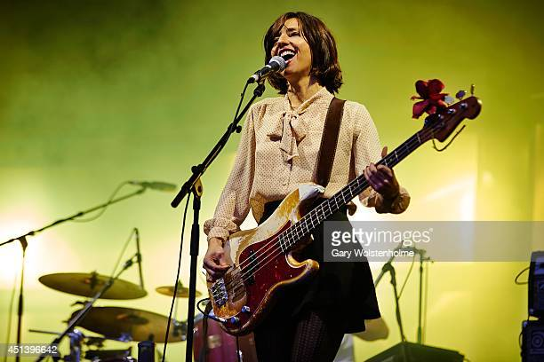 Paz Lenchantin of Pixies performs on Day 2 of the Glastonbury Festival at Worthy Farm on June 28 2014 in Glastonbury England