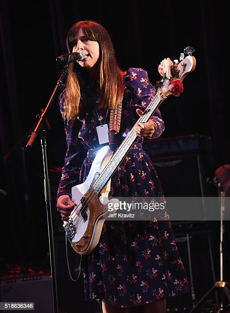Paz Lenchantin of The Pixies rehearses onstage at Michael Dorf Presents The Music of David Bowie at Radio City Music Hall on April 1 2016 in New York...