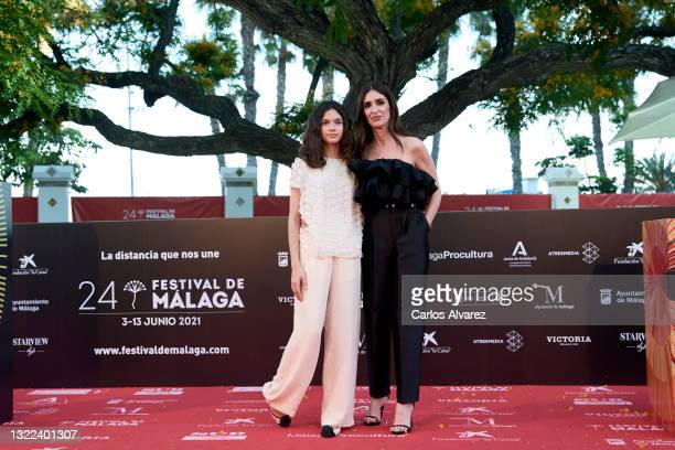 Paz Vega and Ava Salazar attend 'El Sustituto' premiere during the 24th Malaga Film Festival at the Miramar Hotel on June 07, 2021 in Malaga, Spain.