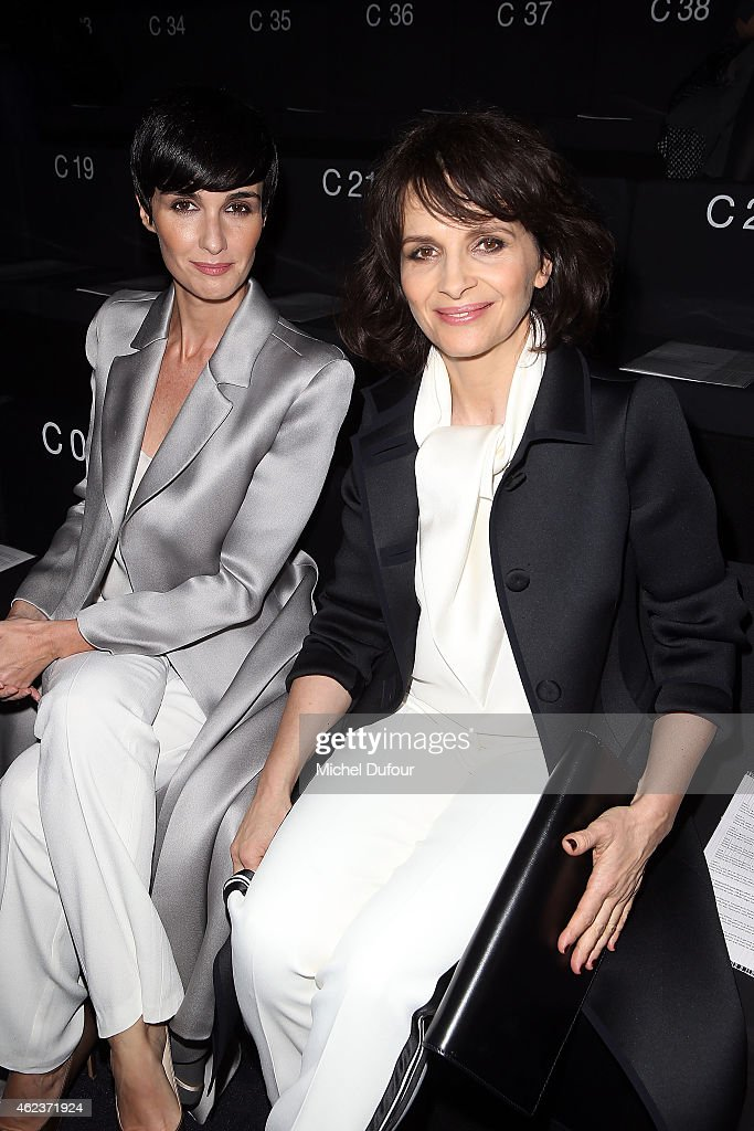 Paz Vega and Juliette Binoche attend the Giorgio Armani Prive show as part of Paris Fashion Week Haute-Couture Spring/Summer 2015 on January 27, 2015 in Paris, France.