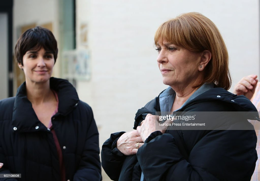 Paz Vega (L) and Mercedes Sampietro (R) attend the filming of 'Fugitiva' serie on February 20, 2018 in Benidorm, Spain.