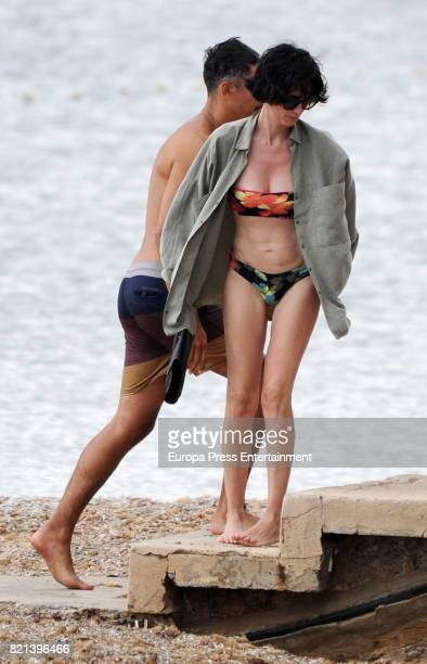 Paz Vega and Orson Salazar are seen on July 21 2017 in Ibiza Spain