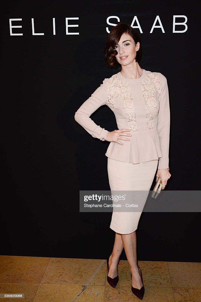 Paz Vega attends the Elie Saab show as part of Paris Fashion Week Haute Couture Spring/Summer 2014 , at Theatre National de Chaillot, in Paris.