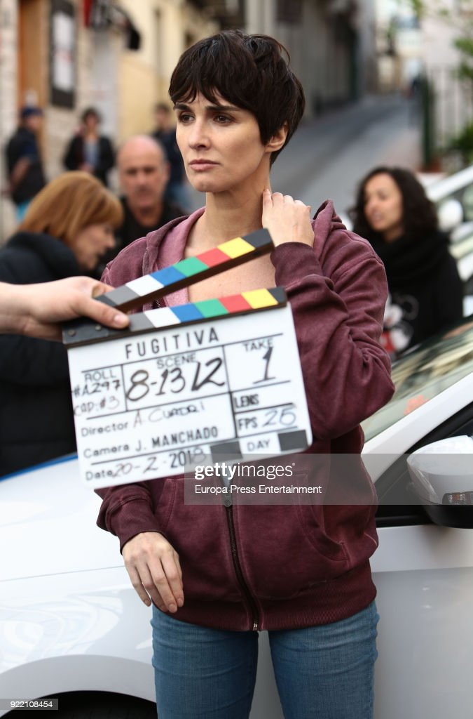 Paz Vega attends the filming of 'Fugitiva' serie on February 20, 2018 in Benidorm, Spain.