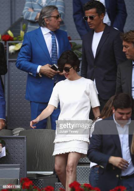 Paz Vega attends the match between Rafael Nadal of Spain and Dominic Thiem of Austria in the final during day nine of the Mutua Madrid Open tennis at...