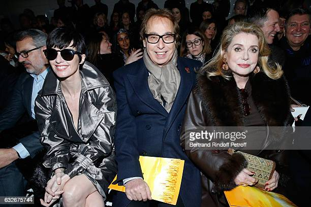 Paz Vega Gilles Dufour and Catherine Deneuve attend the Jean Paul Gaultier Haute Couture Spring Summer 2017 show as part of Paris Fashion Week on...
