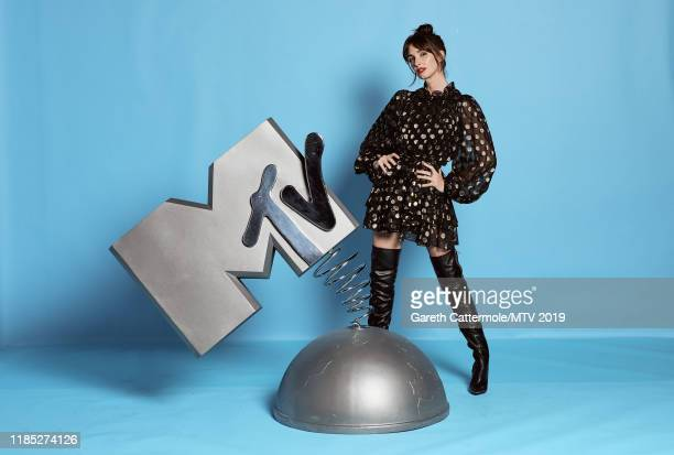 Paz Vega poses at the MTV EMAs 2019 studio at FIBES Conference and Exhibition Centre on November 03, 2019 in Seville, Spain.