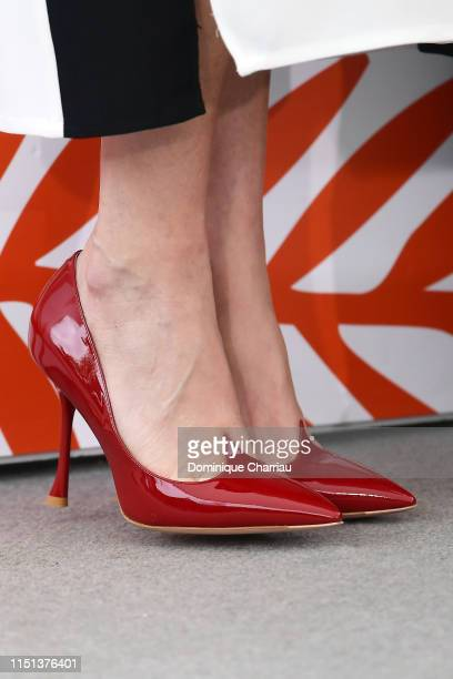 Paz Vega shoes detail attends thephotocall for Sylvester Stallone Rambo V Last Blood during the 72nd annual Cannes Film Festival on May 24 2019 in...