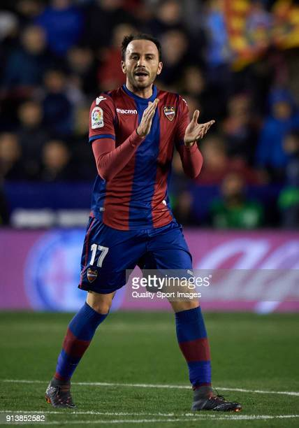 Pazzini of Levante celebrates after scoring the second goal during the La Liga match between Levante and Real Madrid at Ciutat de Valencia Stadium on...