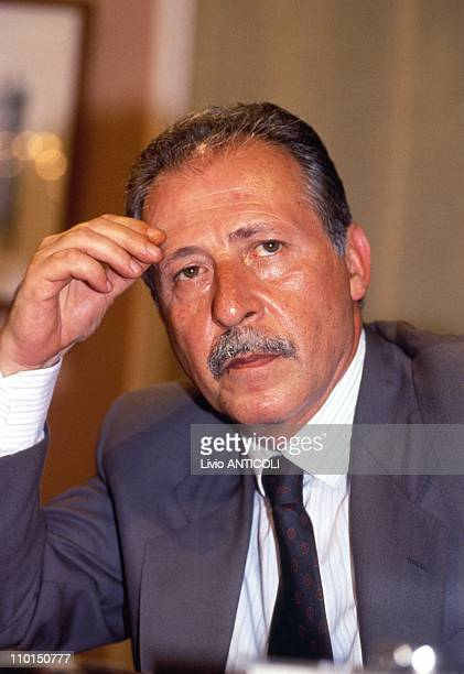 Borsellino in headquarter of Mondadori in Rome Italy on April 00 1992