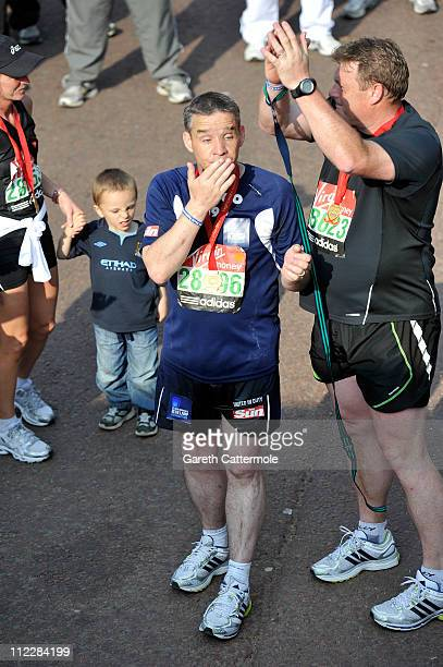 Pc David Rathband completes the 2011 Virgin London Marathon on April 17 2011 in London England