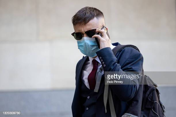 Pc Jamie Lewis arrives at The City of Westminster Magistrates Court on May 27, 2021 in London, England. Pc Deniz Jaffer and Pc Jamie Lewis have each...