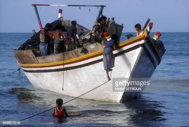 Pêcheurs à Al Hudaydah au Yémen en mars 1983