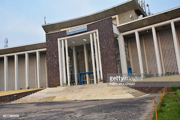 A pciture shows the facade of the University of Kinshasa where police fired live rounds to break up rallies on January 19 2015 in Kinshasa during...