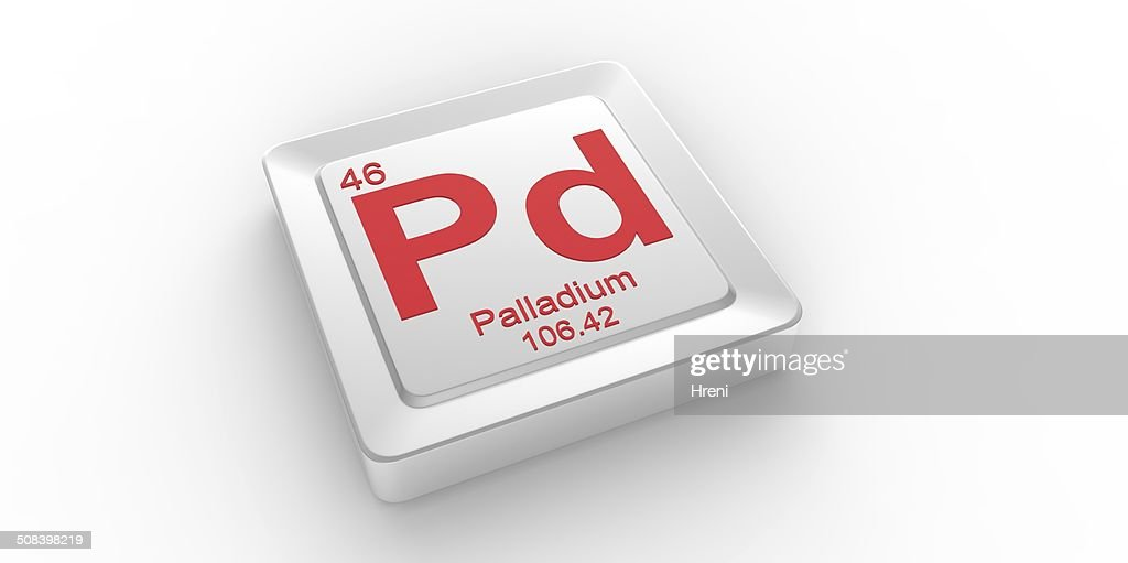 Pd Symbol 46 Material For Palladium Chemical Element Stock Photo