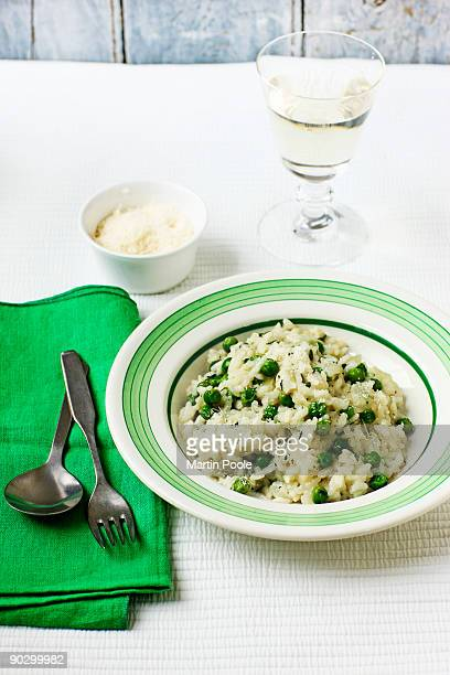 pea and mint risotto in bowl on table