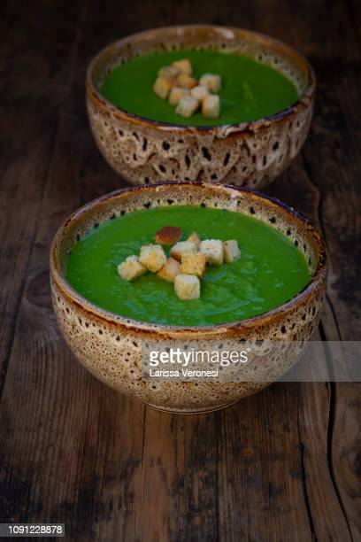Pea soup in a bowl