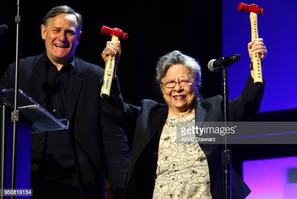 Peace Activist Koko Kondo celebrates on stage as Chief Curator TDIA cofounder Tribeca Film Festival Craig Hatkoff looks on during Tribeca Disruptive...