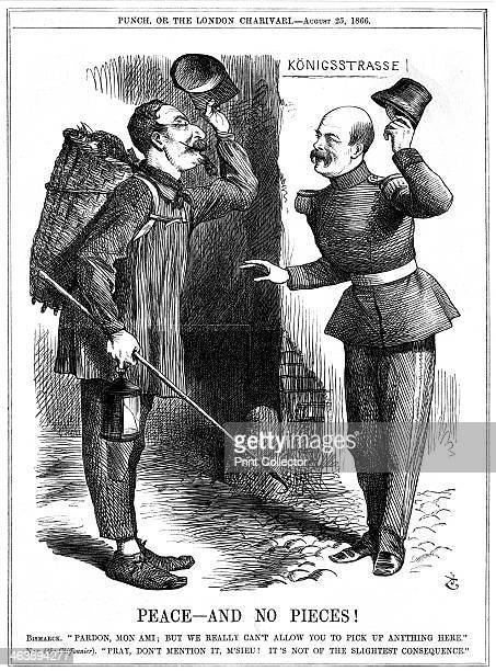 'Peace and No Pieces' 1866 Napoleon III French Emperor 18521870 dressed as a ragpicker warned off by Otto von Bismarck the Prussian Chancellor...