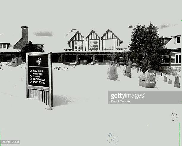 Peace and snow blanket the railway station top that welcomes guests to Minaki Lodge and the controversial resort's main building right But Minaki 50...
