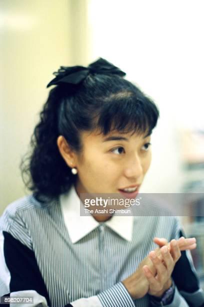 Peace Boat chief Kiyomi Tsujimoto speaks during the Asahi Shimbun interview on May 18 1992 in Tokyo Japan