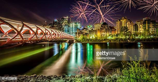 peace bridge calgary alberta - calgary stock pictures, royalty-free photos & images