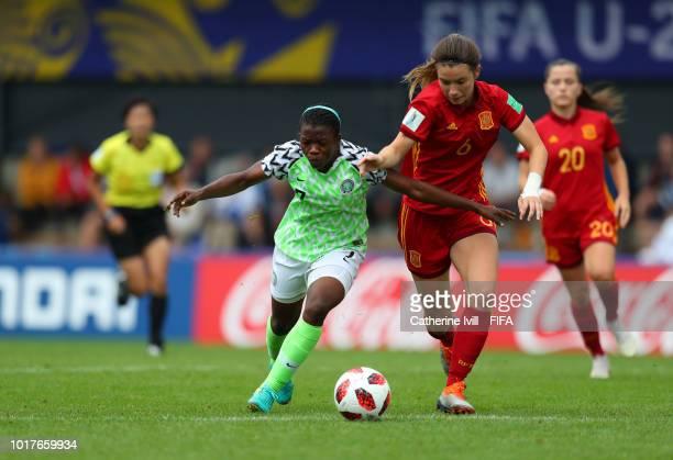 Peace Efih of Nigeria and Damaris Egurrola of Spain during the FIFA U20 Women's World Cup France 2018 Quarter Final quarter final match between Spain...