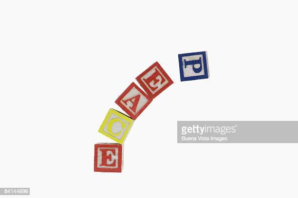 Peace in Wooden alphabet blocks