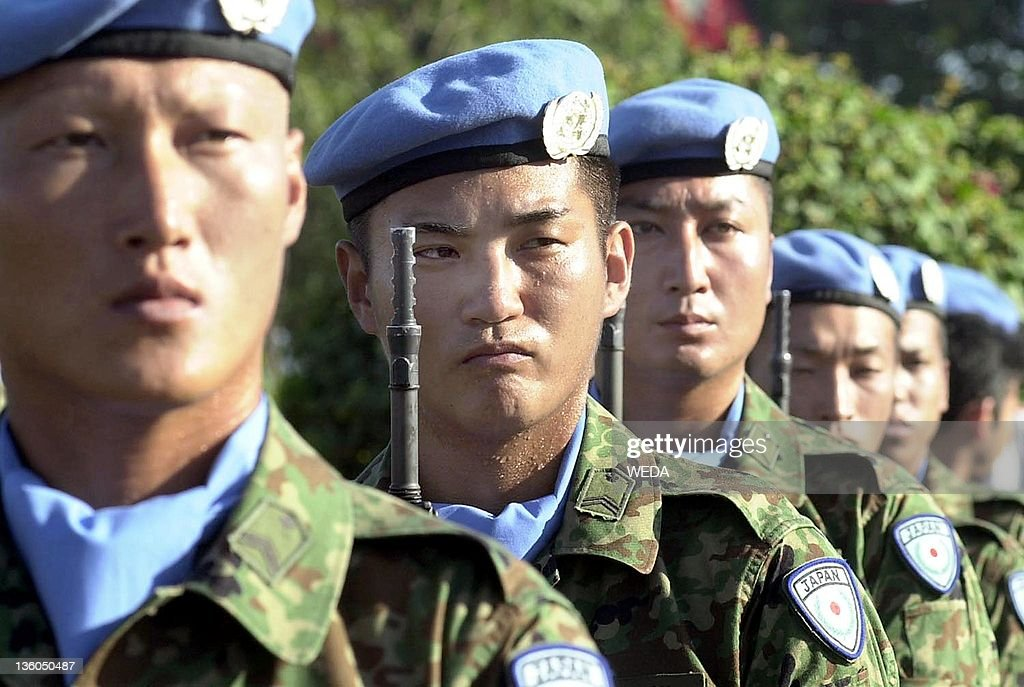UN Peace Keeping Force from Japan hold t : News Photo