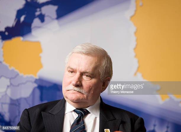 Peace Nobel Prize and former Polish President Lech Walesa talks to the medias at the European Concil