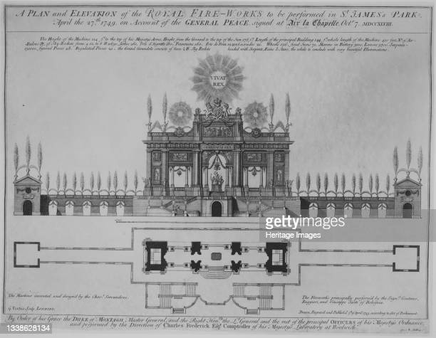 Peace of Aix-la-Chapelle: A Plan and Elevation of the Royal Fire-Works, London circa 1749. A fireworks display, with music specially composed by...