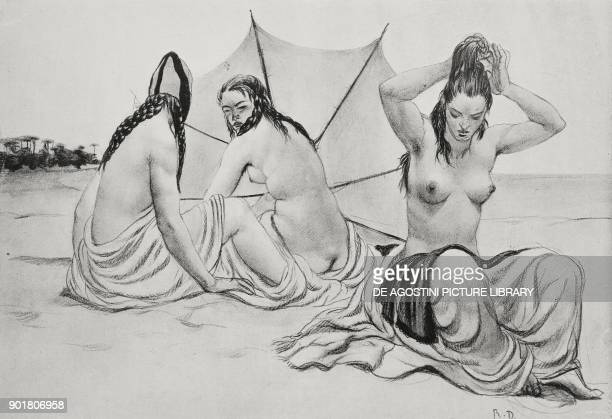 Peace of Maremma beach girls wearing bathing suits drawing by Romano Dazzi from L'Illustrazione Italiana Year L No 34 August 26 1923