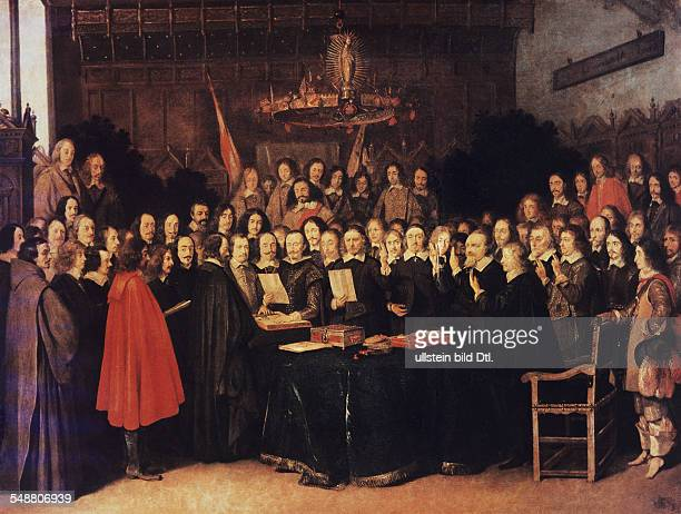 Peace of Westphalia The swearing of the oath of ratification of the treaty of Münster on 24101648 painting by Gerard Ter Borch