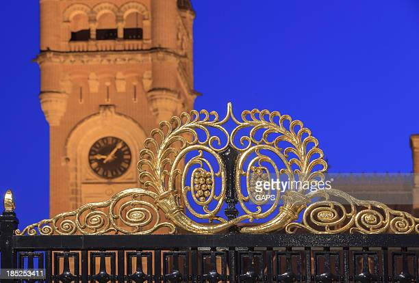 peace palace in the hague at dusk - andrew carnegie stock pictures, royalty-free photos & images