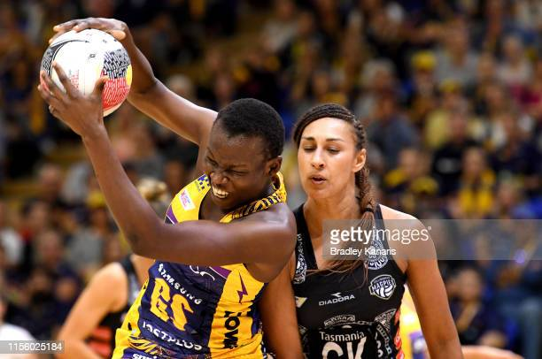 Peace Proscovia of the Lightning catches the ball during the Round 8 Super Netball match between the Sunshine Coast Lightning and the Collingwood...