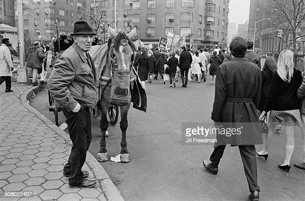 A peace rally in Columbus Circle New York City calling for an end to the Vietnam War USA 1967