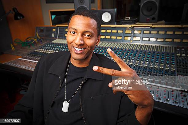 Peace Sign - African-American Recording Engineer in the Studio