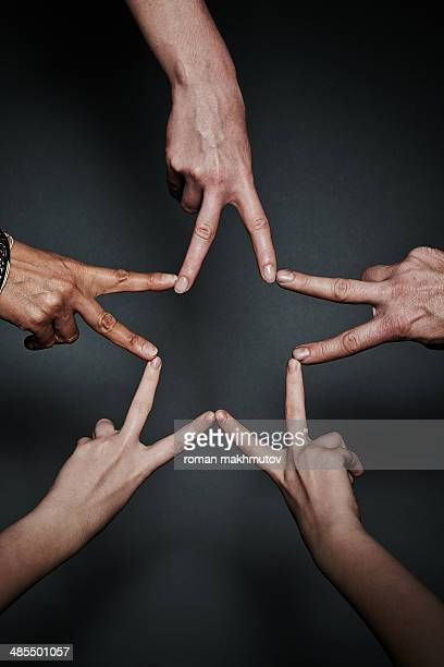 Peace star of fingers
