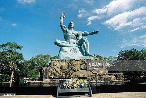 peace statue, nagasaki,japan - nagasaki prefecture stock pictures, royalty-free photos & images