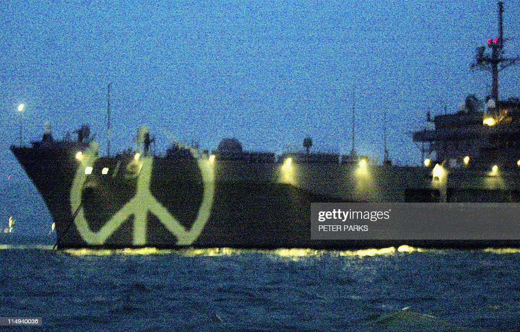 A Peace Symbol Is Illuminated On The Bow Pictures Getty Images