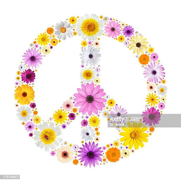 peace symbol made from flowers - symbol stock pictures, royalty-free photos & images